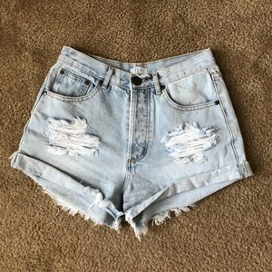 Destroyed denim high waisted jean shorts